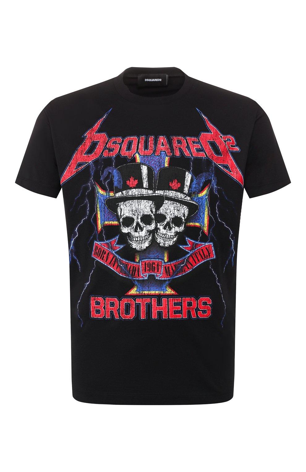 Мужская хлопковая футболка DSQUARED2 черного цвета, арт. S71GD0802/S22844 | Фото 1