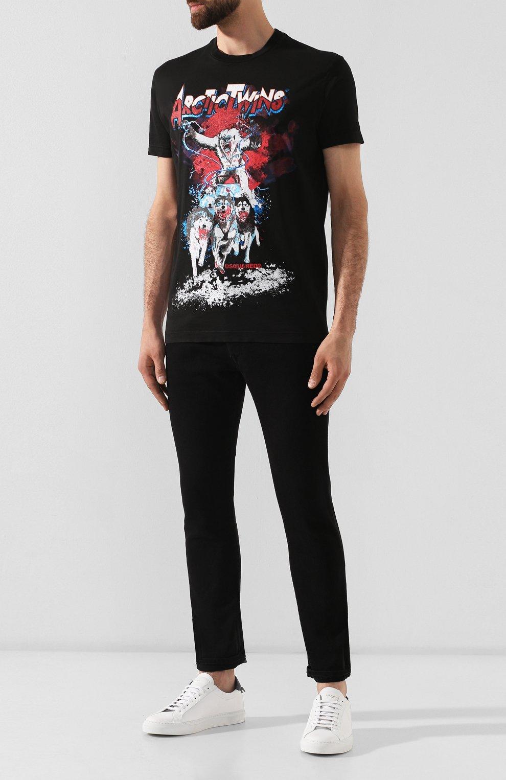 Мужская хлопковая футболка DSQUARED2 черного цвета, арт. S74GD0550/S22427 | Фото 2