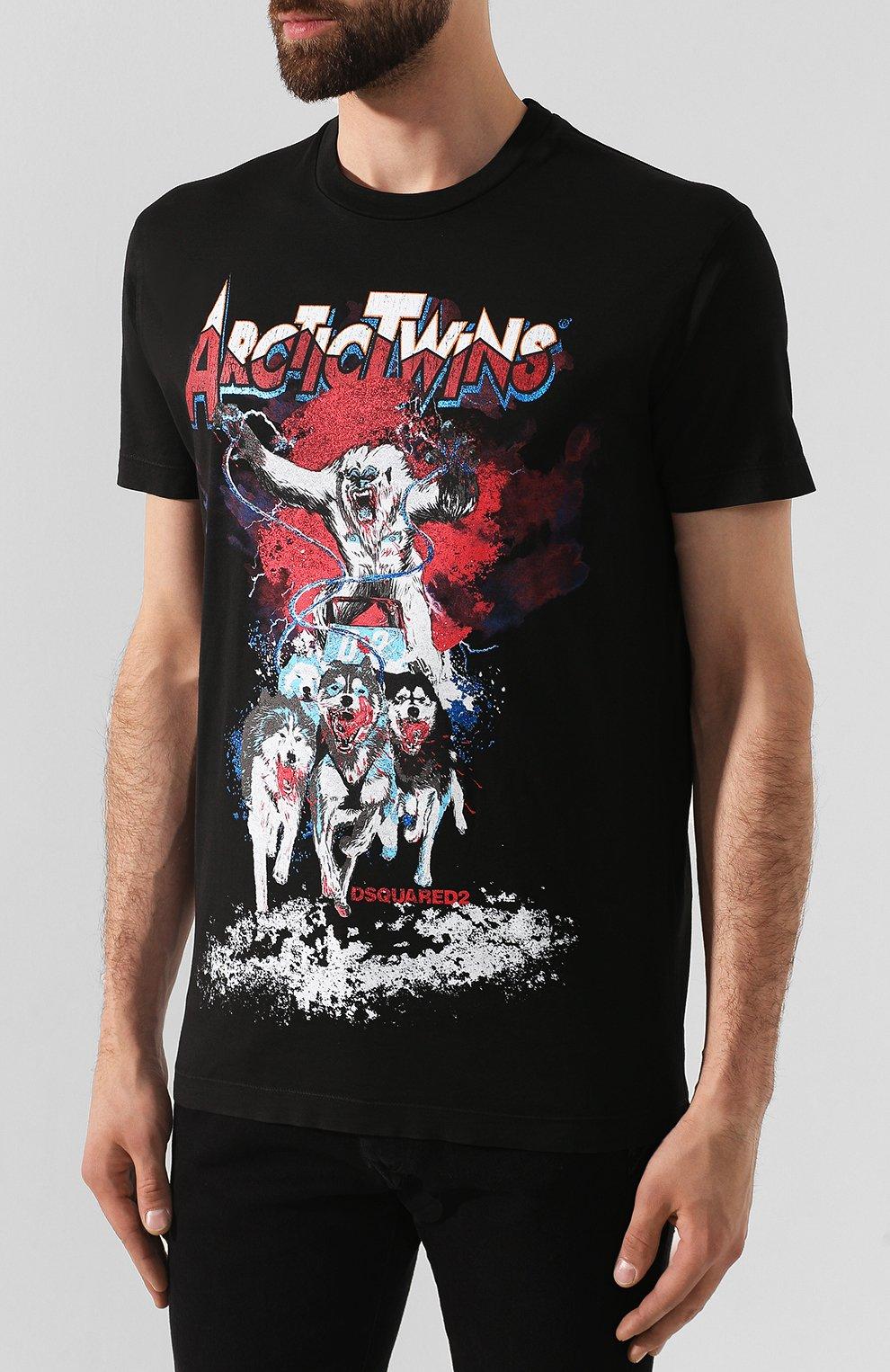 Мужская хлопковая футболка DSQUARED2 черного цвета, арт. S74GD0550/S22427 | Фото 3