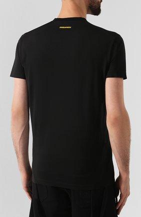 Мужская хлопковая футболка DSQUARED2 черного цвета, арт. S74GD0555/S22427 | Фото 4