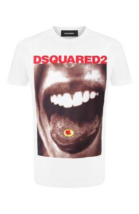 Мужская хлопковая футболка DSQUARED2 белого цвета, арт. S74GD0564/S22427   Фото 1
