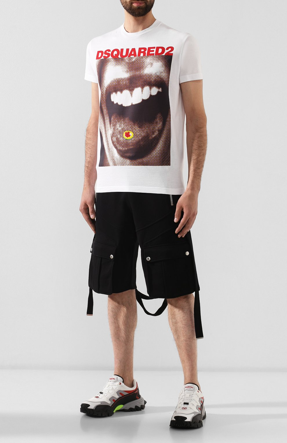 Мужская хлопковая футболка DSQUARED2 белого цвета, арт. S74GD0564/S22427   Фото 2