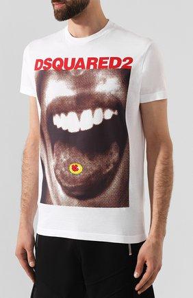 Мужская хлопковая футболка DSQUARED2 белого цвета, арт. S74GD0564/S22427   Фото 3