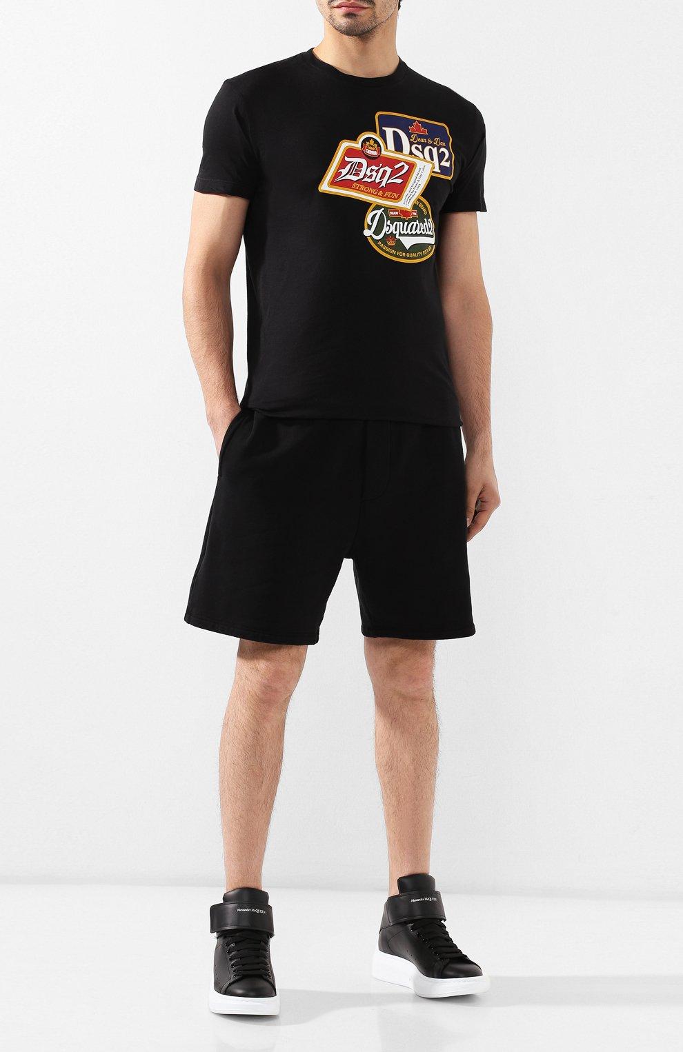 Мужская хлопковая футболка DSQUARED2 черного цвета, арт. S74GD0581/S21600 | Фото 2