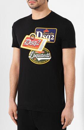Мужская хлопковая футболка DSQUARED2 черного цвета, арт. S74GD0581/S21600 | Фото 3