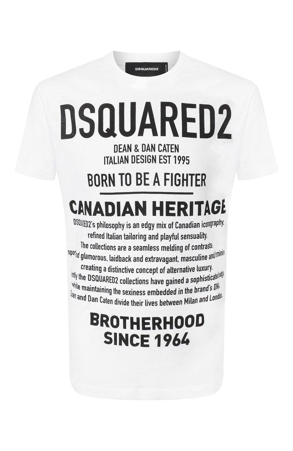 Мужская хлопковая футболка DSQUARED2 белого цвета, арт. S74GD0594/S22507   Фото 1