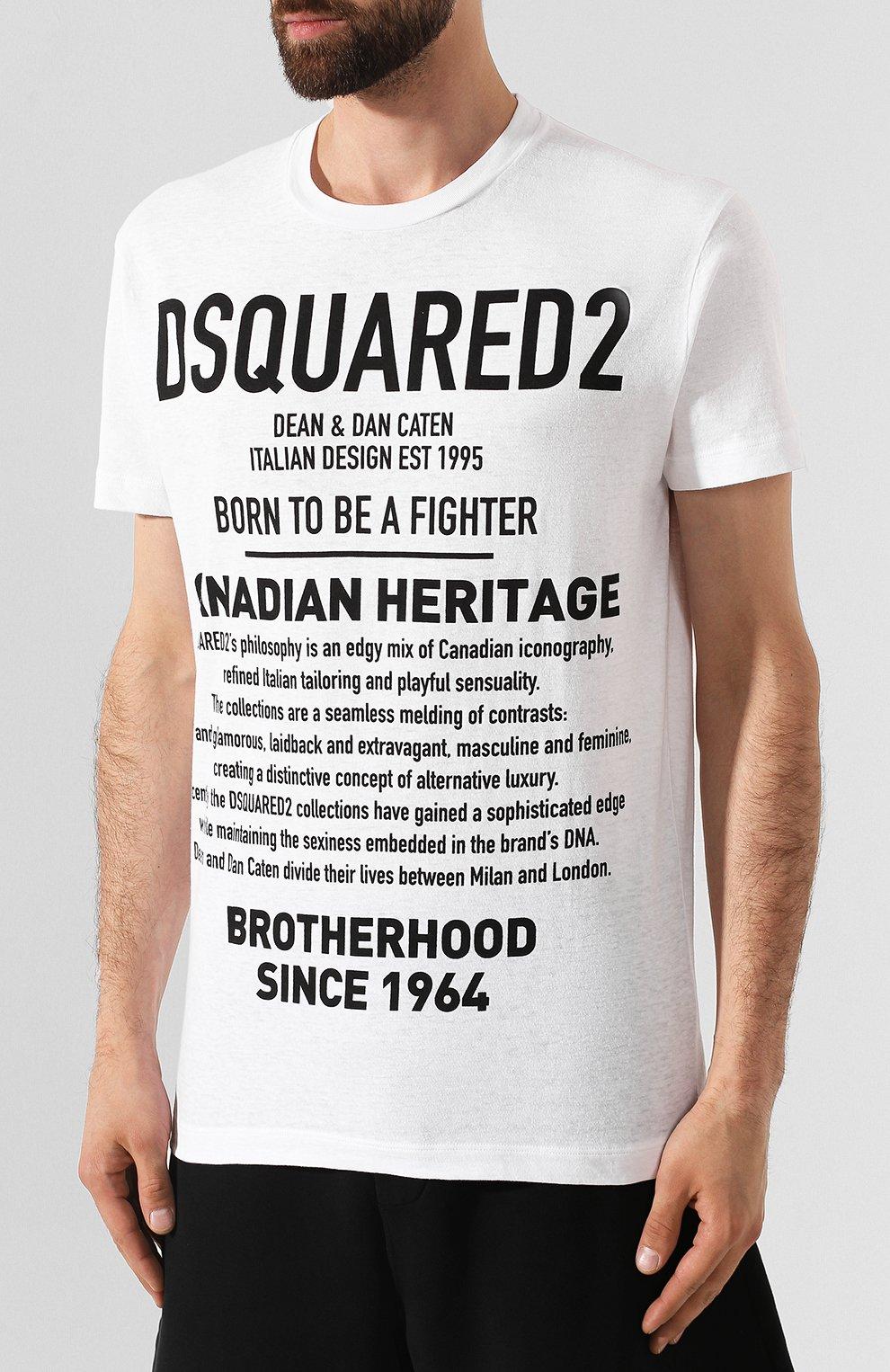 Мужская хлопковая футболка DSQUARED2 белого цвета, арт. S74GD0594/S22507   Фото 3