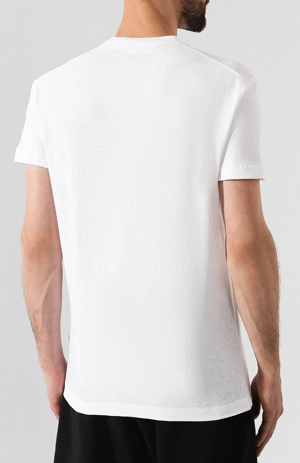 Мужская хлопковая футболка DSQUARED2 белого цвета, арт. S74GD0594/S22507   Фото 4