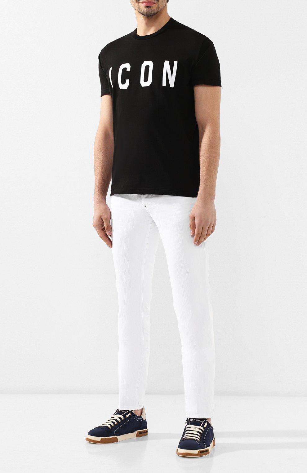 Мужская хлопковая футболка DSQUARED2 черного цвета, арт. S74GD0601/S22427 | Фото 2