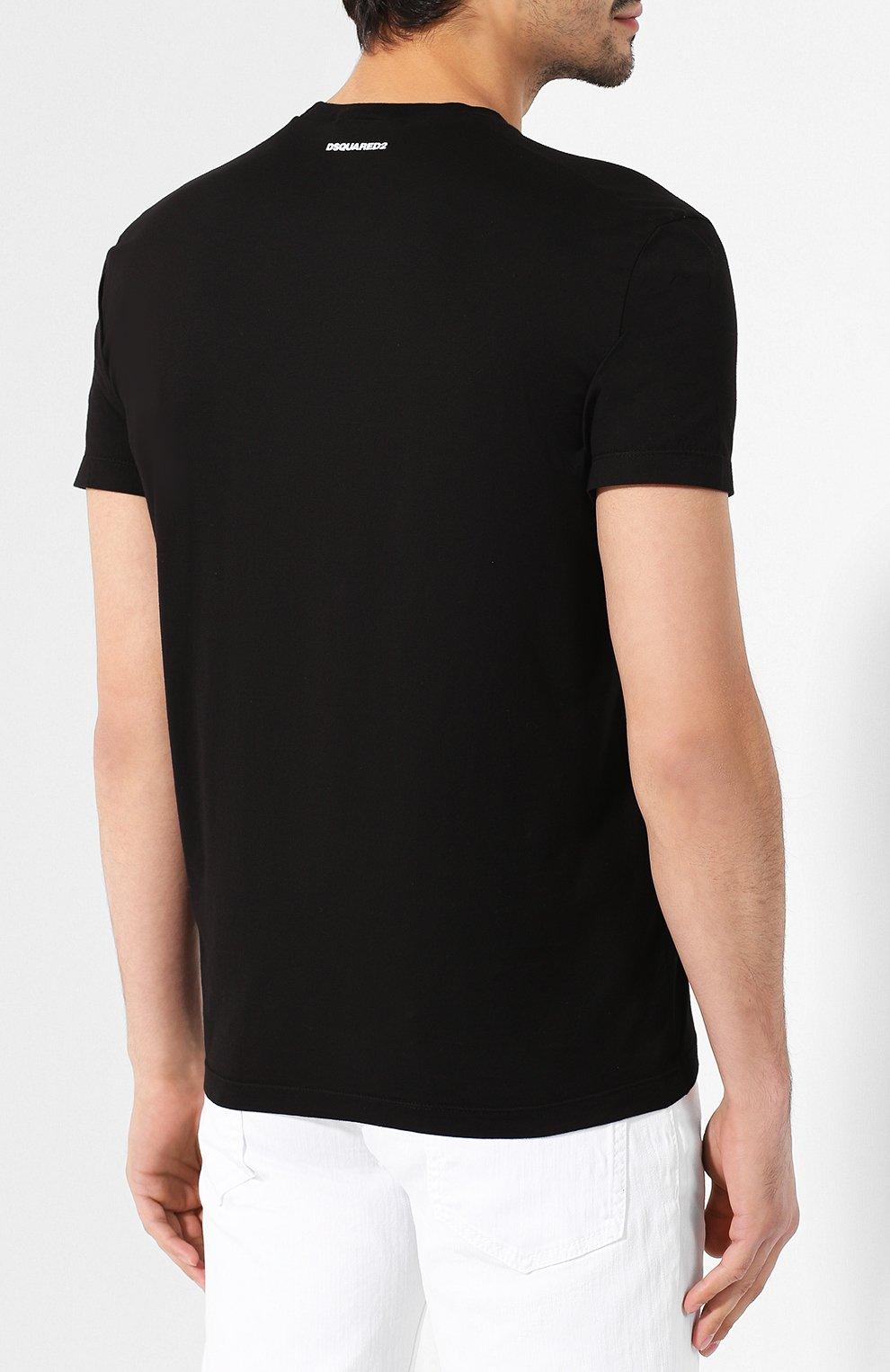 Мужская хлопковая футболка DSQUARED2 черного цвета, арт. S74GD0601/S22427 | Фото 4