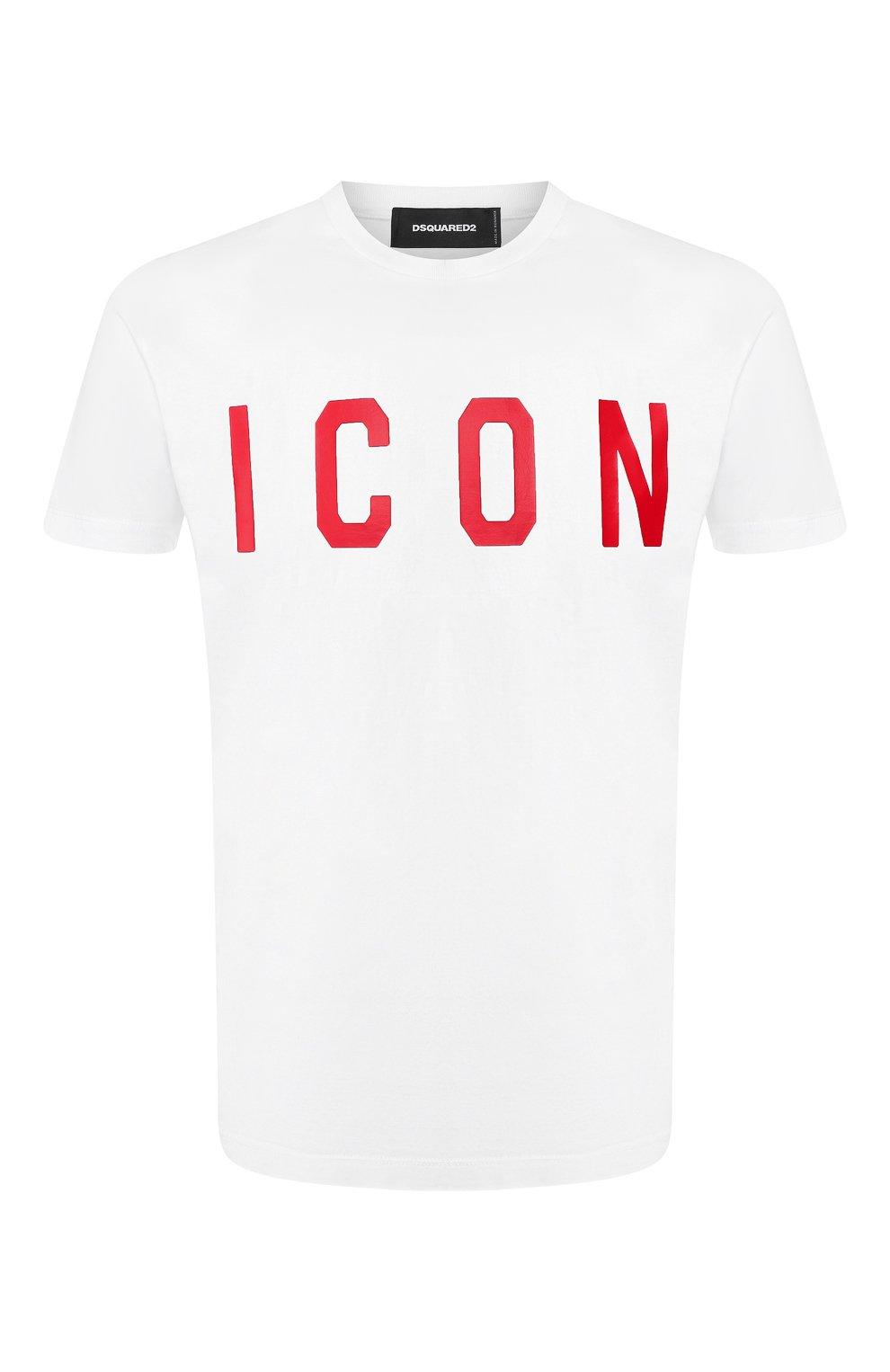 Мужская хлопковая футболка DSQUARED2 белого цвета, арт. S74GD0601/S22427 | Фото 1
