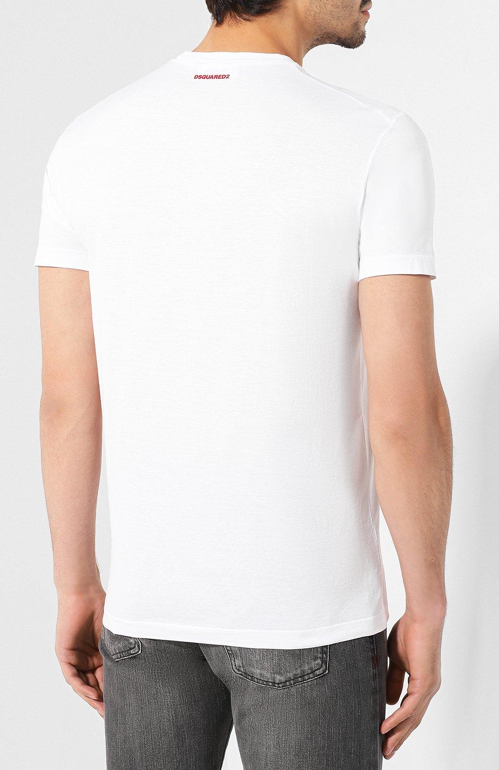 Мужская хлопковая футболка DSQUARED2 белого цвета, арт. S74GD0601/S22427 | Фото 4