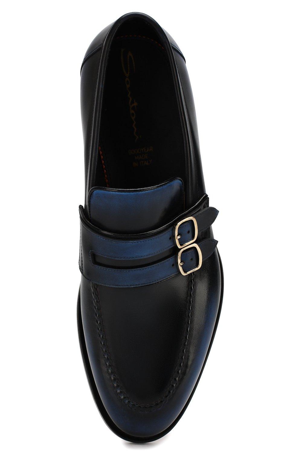 Мужские кожаные монки SANTONI темно-синего цвета, арт. MCC016175MD1HNGWU64 | Фото 5