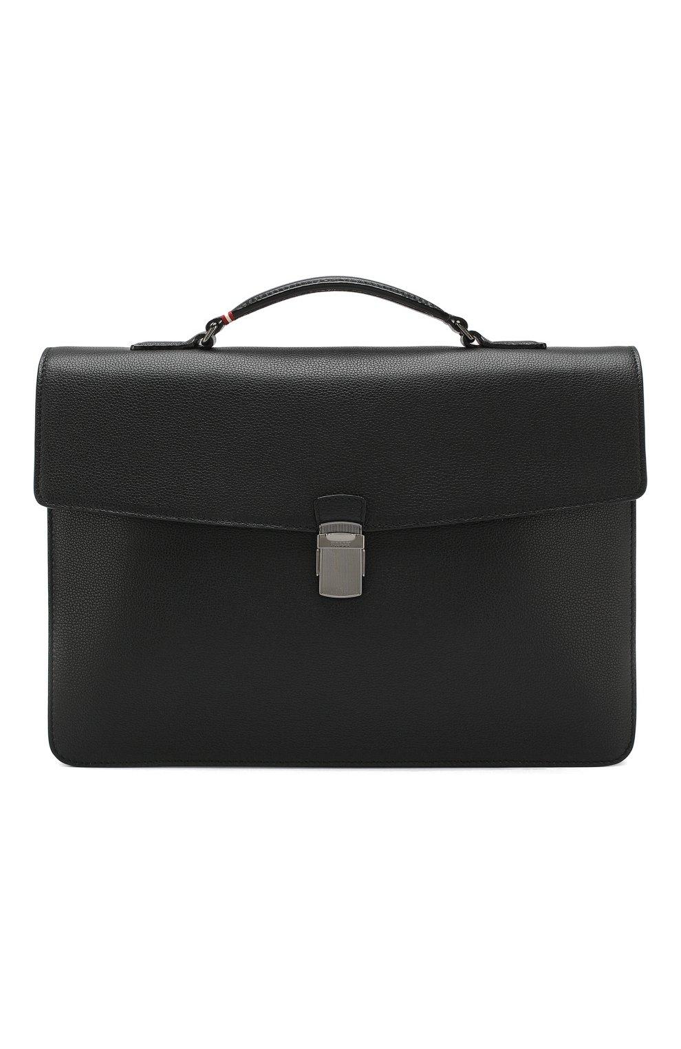 Мужской кожаный портфель galbert BALLY черного цвета, арт. GALBERG/00 | Фото 1