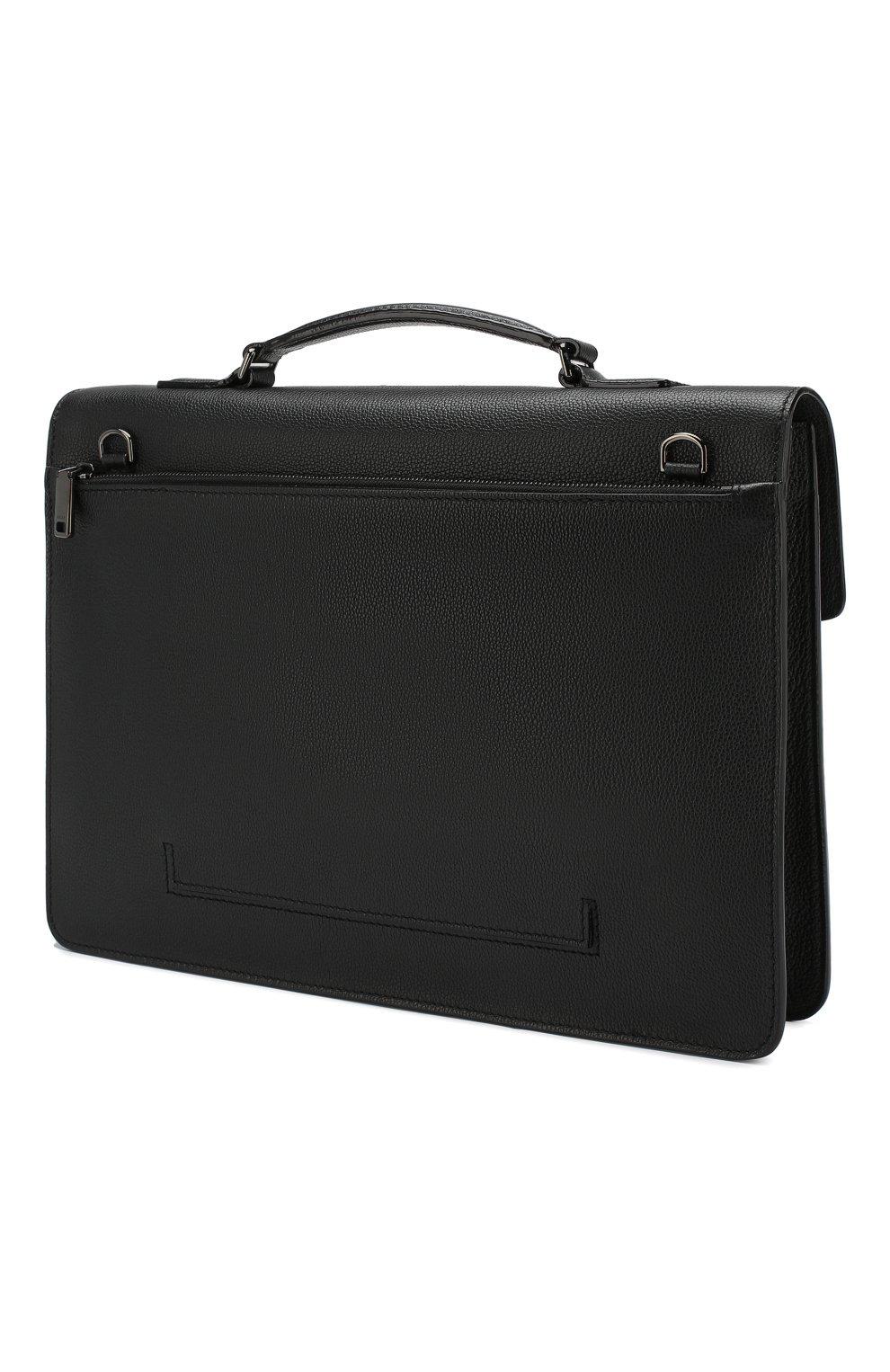 Мужской кожаный портфель galbert BALLY черного цвета, арт. GALBERG/00 | Фото 3