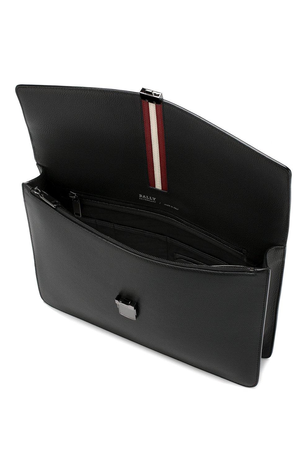 Мужской кожаный портфель galbert BALLY черного цвета, арт. GALBERG/00 | Фото 4