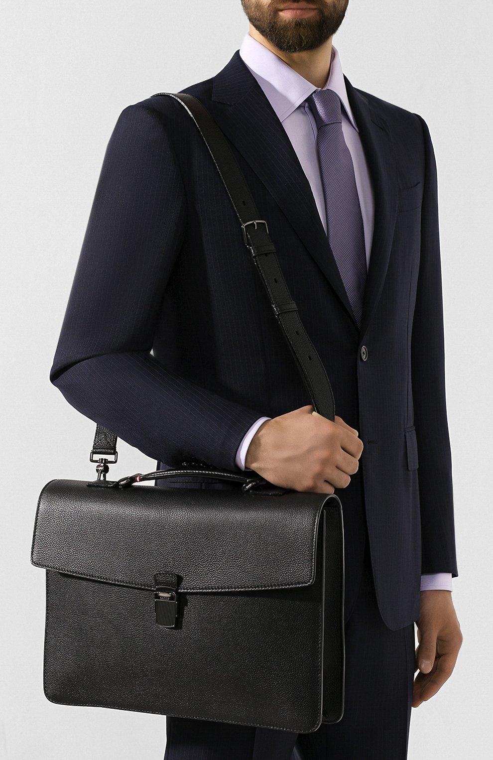 Мужской кожаный портфель galbert BALLY черного цвета, арт. GALBERG/00 | Фото 5