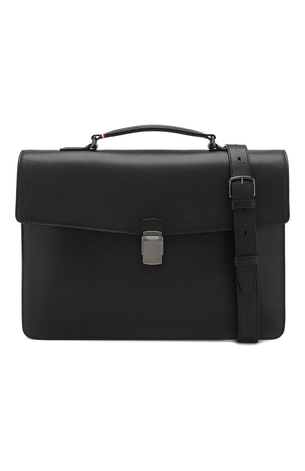 Мужской кожаный портфель galbert BALLY черного цвета, арт. GALBERG/00 | Фото 6