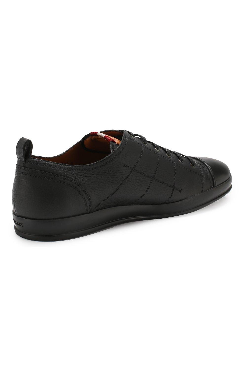 Мужские кожаные кеды BALLY черного цвета, арт. C0L0NES/30 | Фото 4
