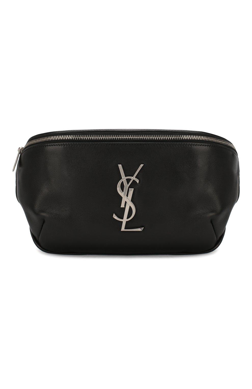Мужская кожаная поясная сумка SAINT LAURENT черного цвета, арт. 590076/03U0E   Фото 1