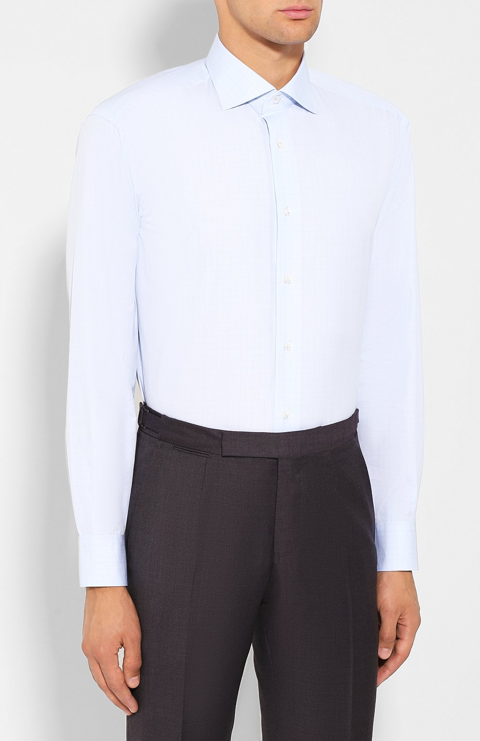 Мужская хлопковая сорочка BRIONI светло-голубого цвета, арт. RCL80L/0806Q | Фото 3