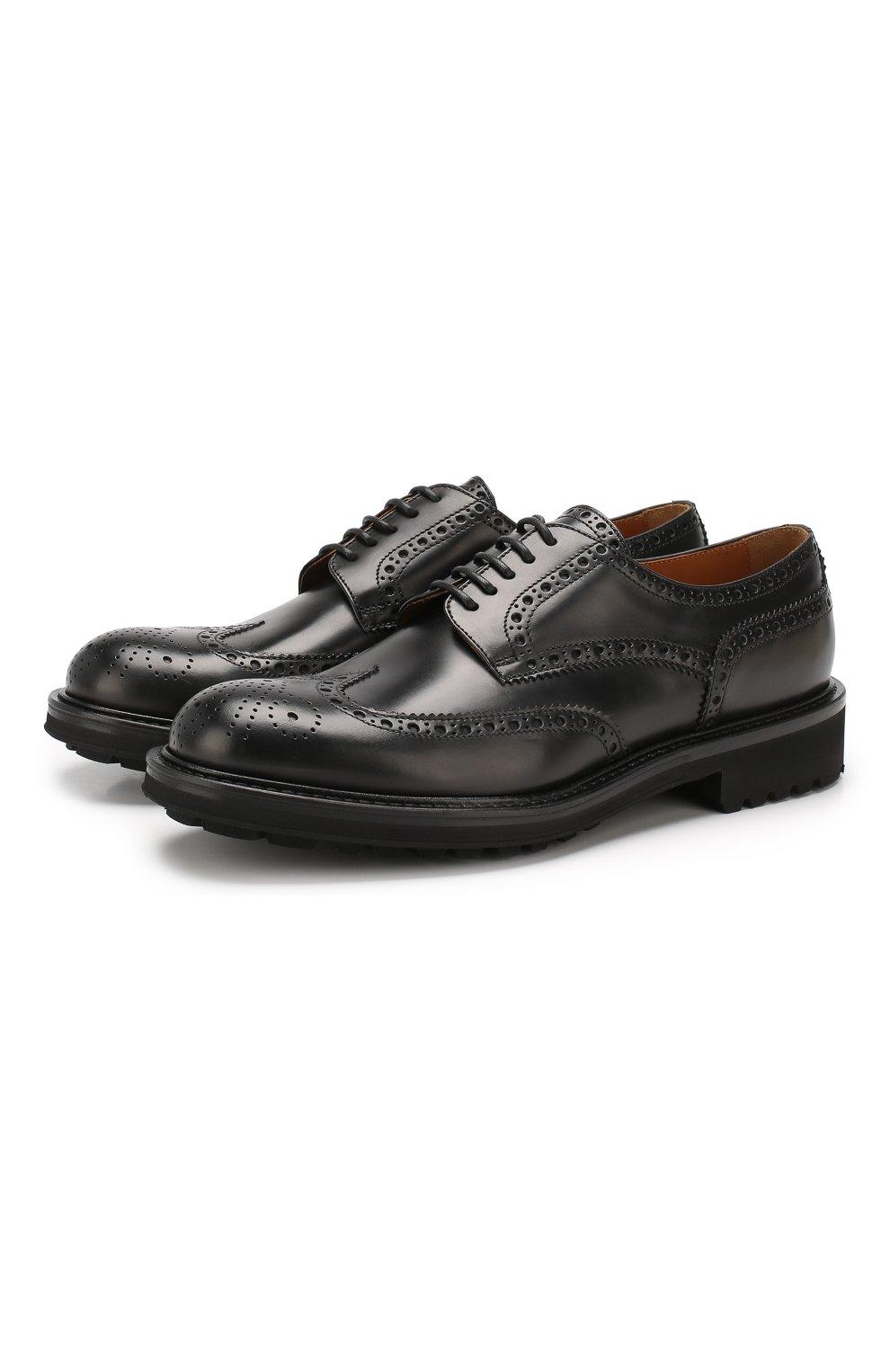 Мужские кожаные дерби DOUCAL'S черного цвета, арт. DU10090TTAUF087NN00 | Фото 1