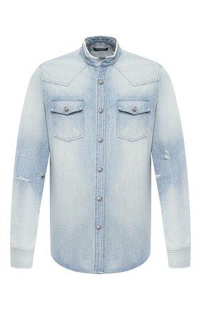 Мужская джинсовая рубашка BALMAIN голубого цвета, арт. SH12400/Z199 | Фото 1