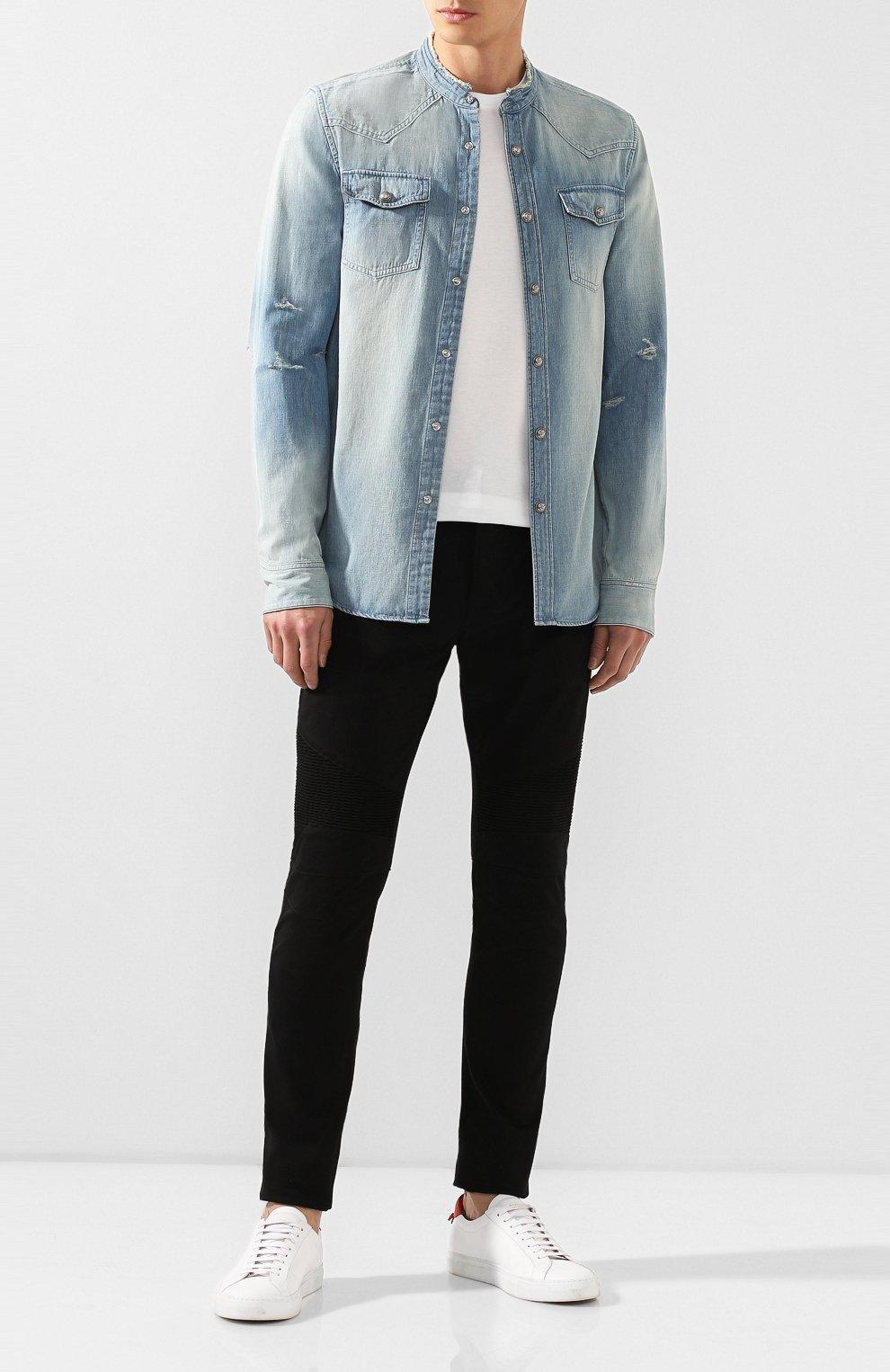 Мужская джинсовая рубашка BALMAIN голубого цвета, арт. SH12400/Z199 | Фото 2