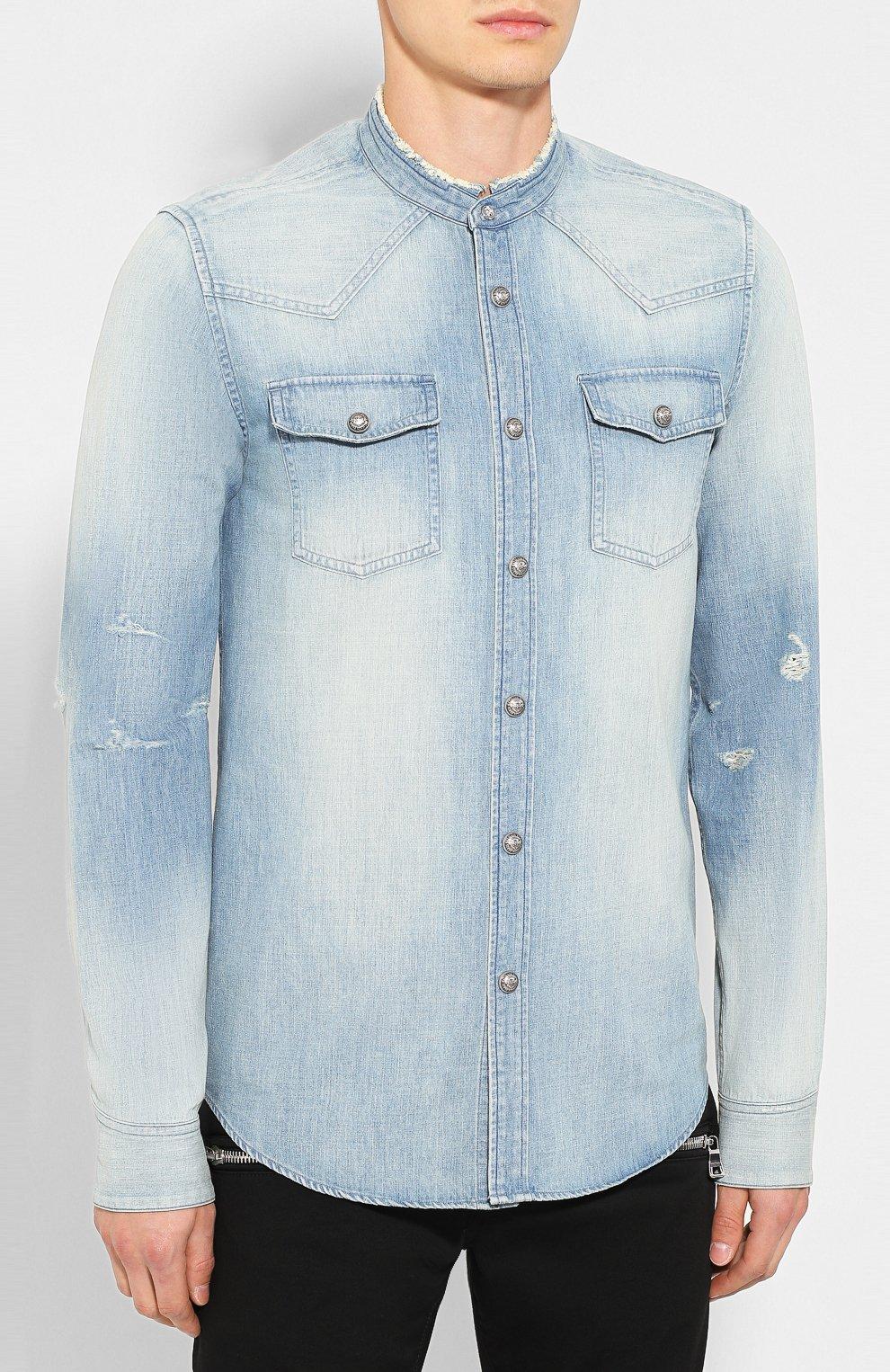 Мужская джинсовая рубашка BALMAIN голубого цвета, арт. SH12400/Z199 | Фото 3