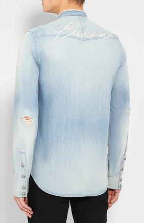 Мужская джинсовая рубашка BALMAIN голубого цвета, арт. SH12400/Z199 | Фото 4