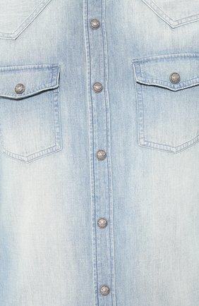 Мужская джинсовая рубашка BALMAIN голубого цвета, арт. SH12400/Z199 | Фото 5