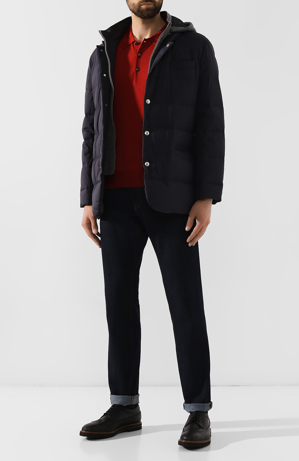 Мужское поло из смеси шерсти и шелка BRIONI бордового цвета, арт. UMR30L/08K16 | Фото 2