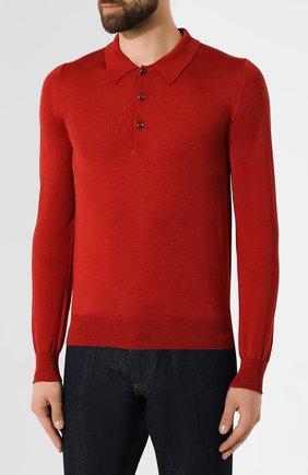Мужское поло из смеси шерсти и шелка BRIONI бордового цвета, арт. UMR30L/08K16 | Фото 3
