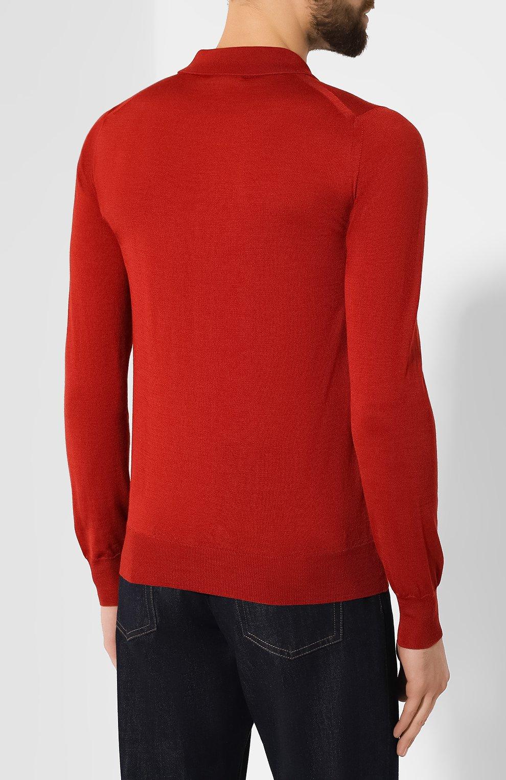 Мужское поло из смеси шерсти и шелка BRIONI бордового цвета, арт. UMR30L/08K16 | Фото 4