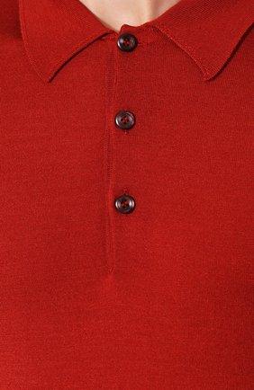 Мужское поло из смеси шерсти и шелка BRIONI бордового цвета, арт. UMR30L/08K16 | Фото 5