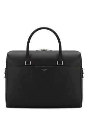 Мужская кожаная сумка для ноутбука SAINT LAURENT черного цвета, арт. 556999/BTY0E | Фото 1