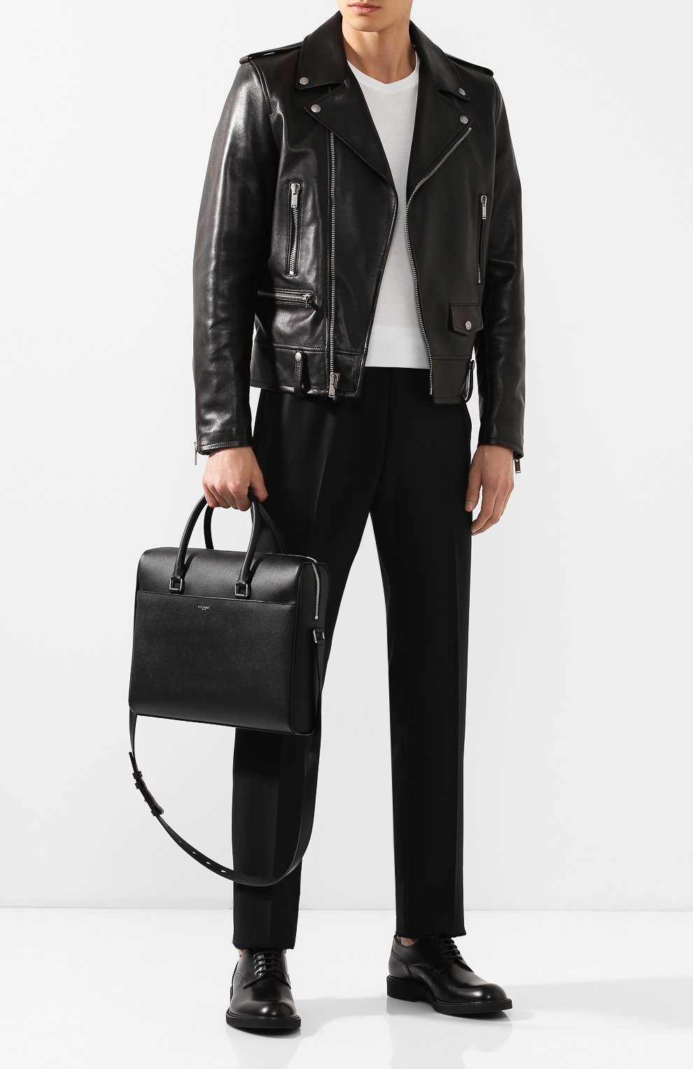 Мужская кожаная сумка для ноутбука SAINT LAURENT черного цвета, арт. 556999/BTY0E | Фото 2