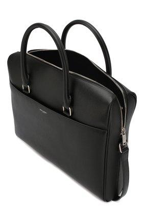 Мужская кожаная сумка для ноутбука SAINT LAURENT черного цвета, арт. 556999/BTY0E | Фото 4