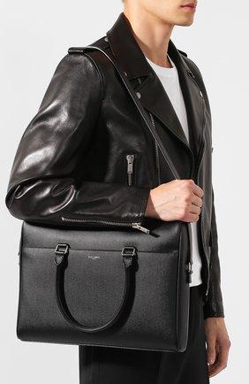 Мужская кожаная сумка для ноутбука SAINT LAURENT черного цвета, арт. 556999/BTY0E | Фото 5