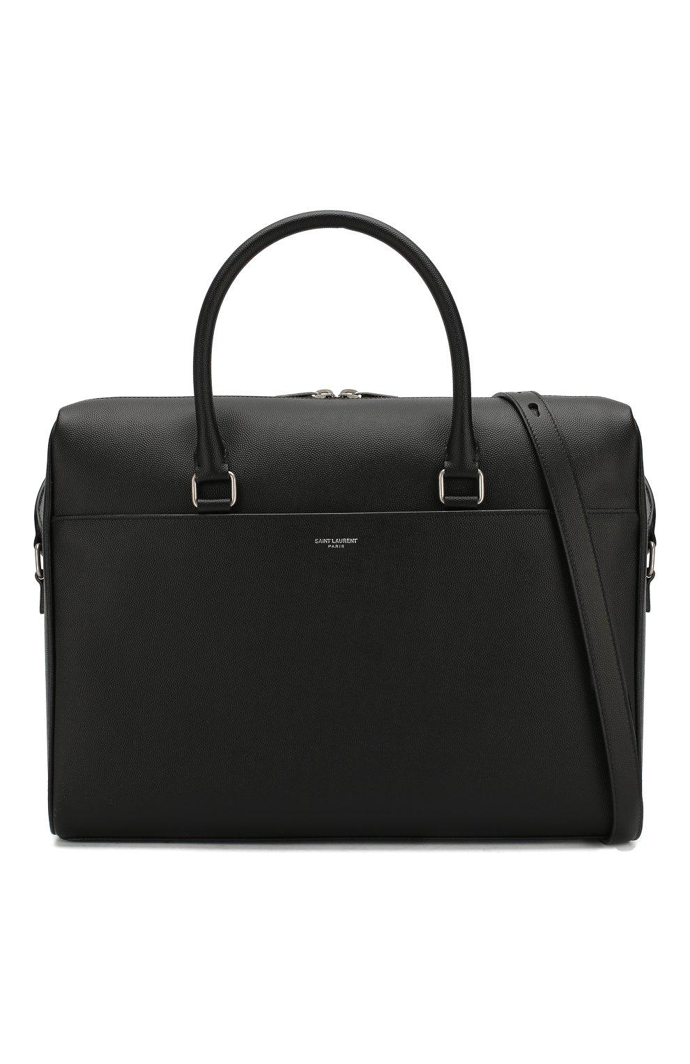 Мужская кожаная сумка для ноутбука SAINT LAURENT черного цвета, арт. 556999/BTY0E | Фото 6