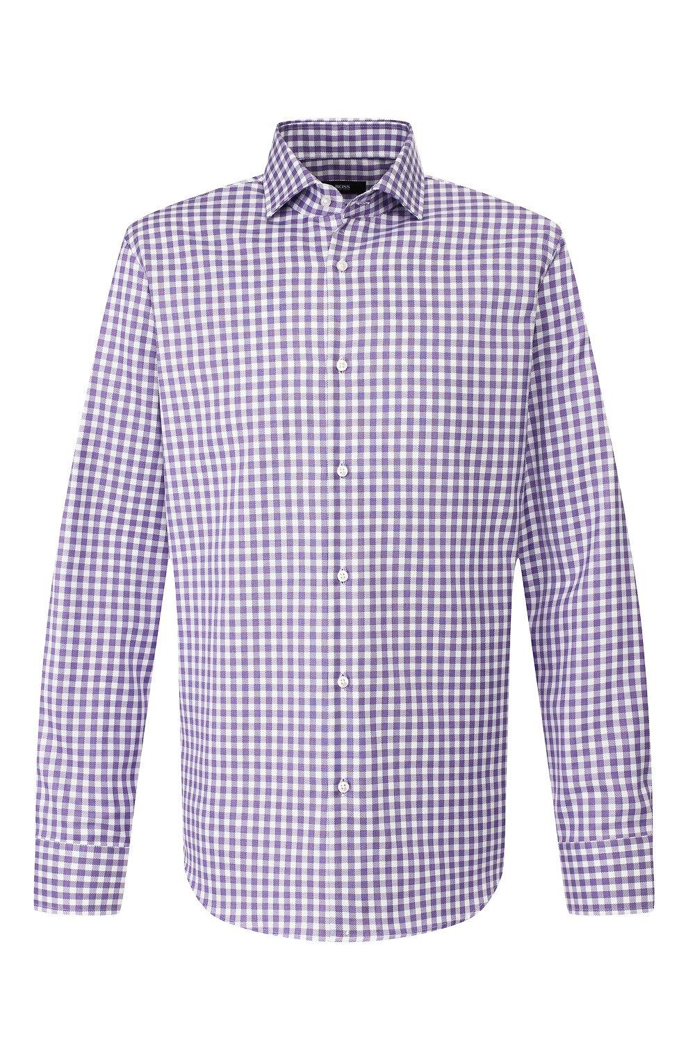 Мужская хлопковая рубашка BOSS сиреневого цвета, арт. 50415971   Фото 1