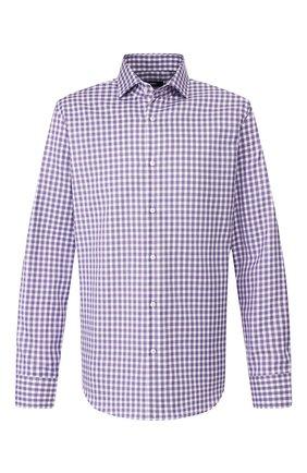 Мужская хлопковая рубашка BOSS сиреневого цвета, арт. 50415971 | Фото 1