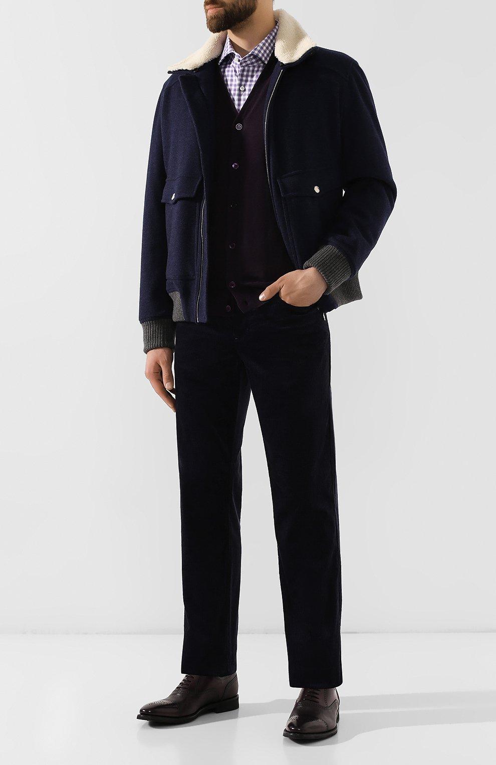 Мужская хлопковая рубашка BOSS сиреневого цвета, арт. 50415971   Фото 2
