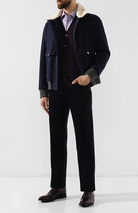 Мужская хлопковая рубашка BOSS сиреневого цвета, арт. 50415971 | Фото 2