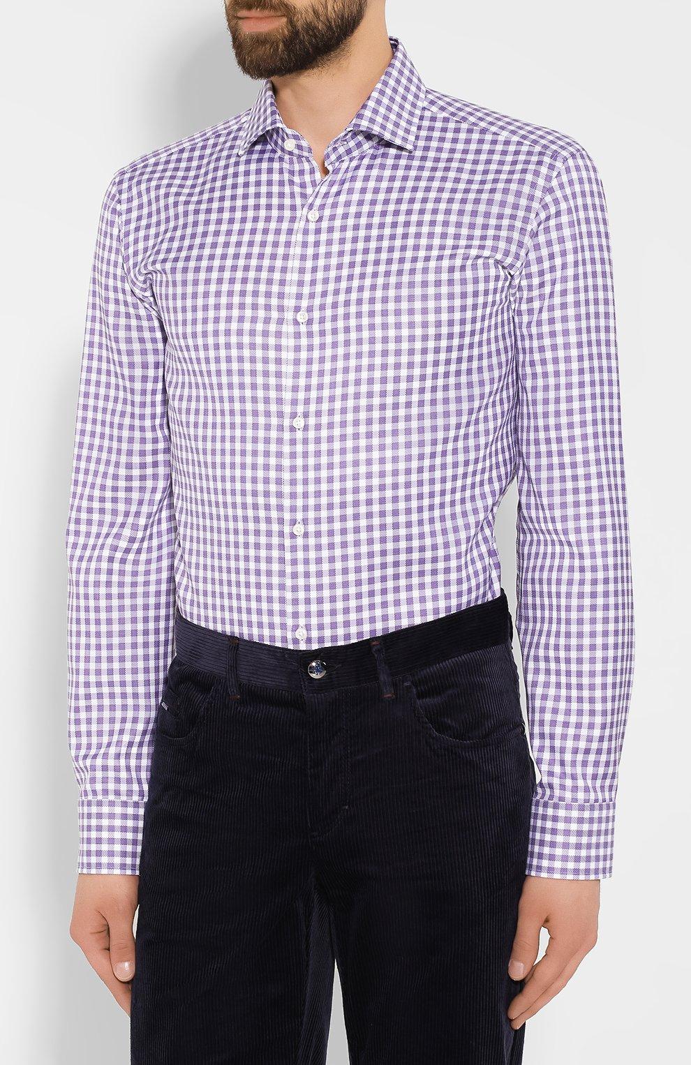 Мужская хлопковая рубашка BOSS сиреневого цвета, арт. 50415971   Фото 3