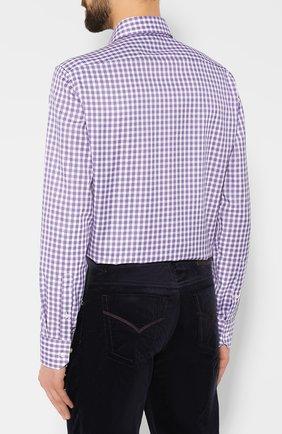 Мужская хлопковая рубашка BOSS сиреневого цвета, арт. 50415971   Фото 4