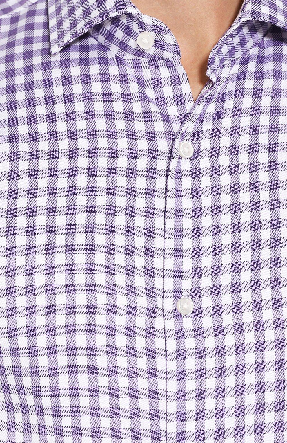 Мужская хлопковая рубашка BOSS сиреневого цвета, арт. 50415971   Фото 5