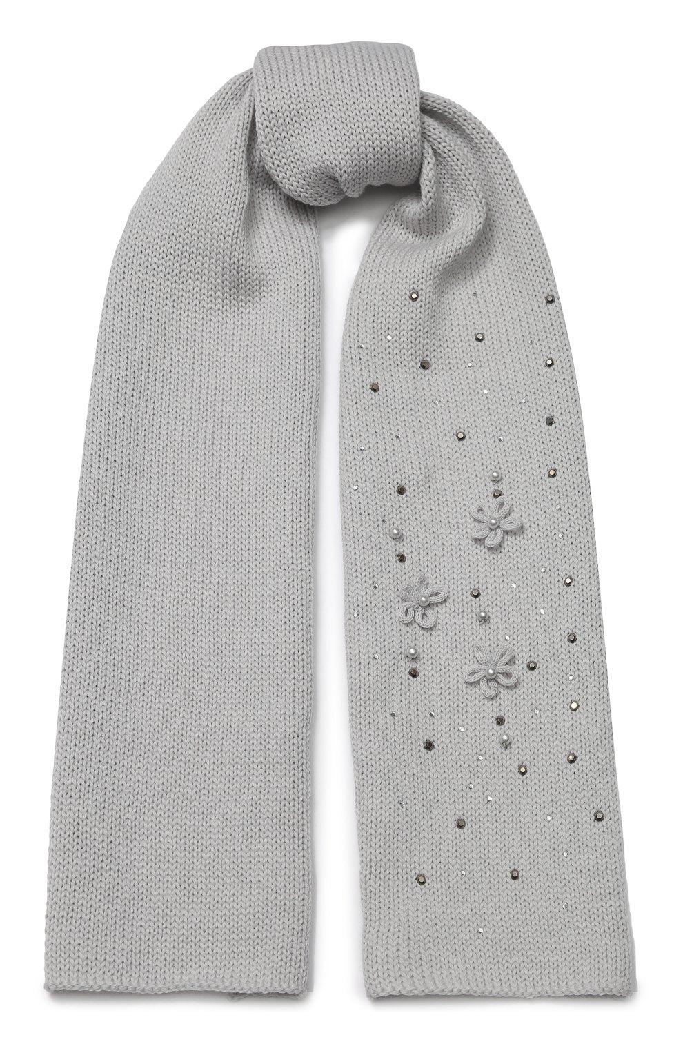 Детский шерстяной шарф CATYA светло-серого цвета, арт. 923733/1 | Фото 1