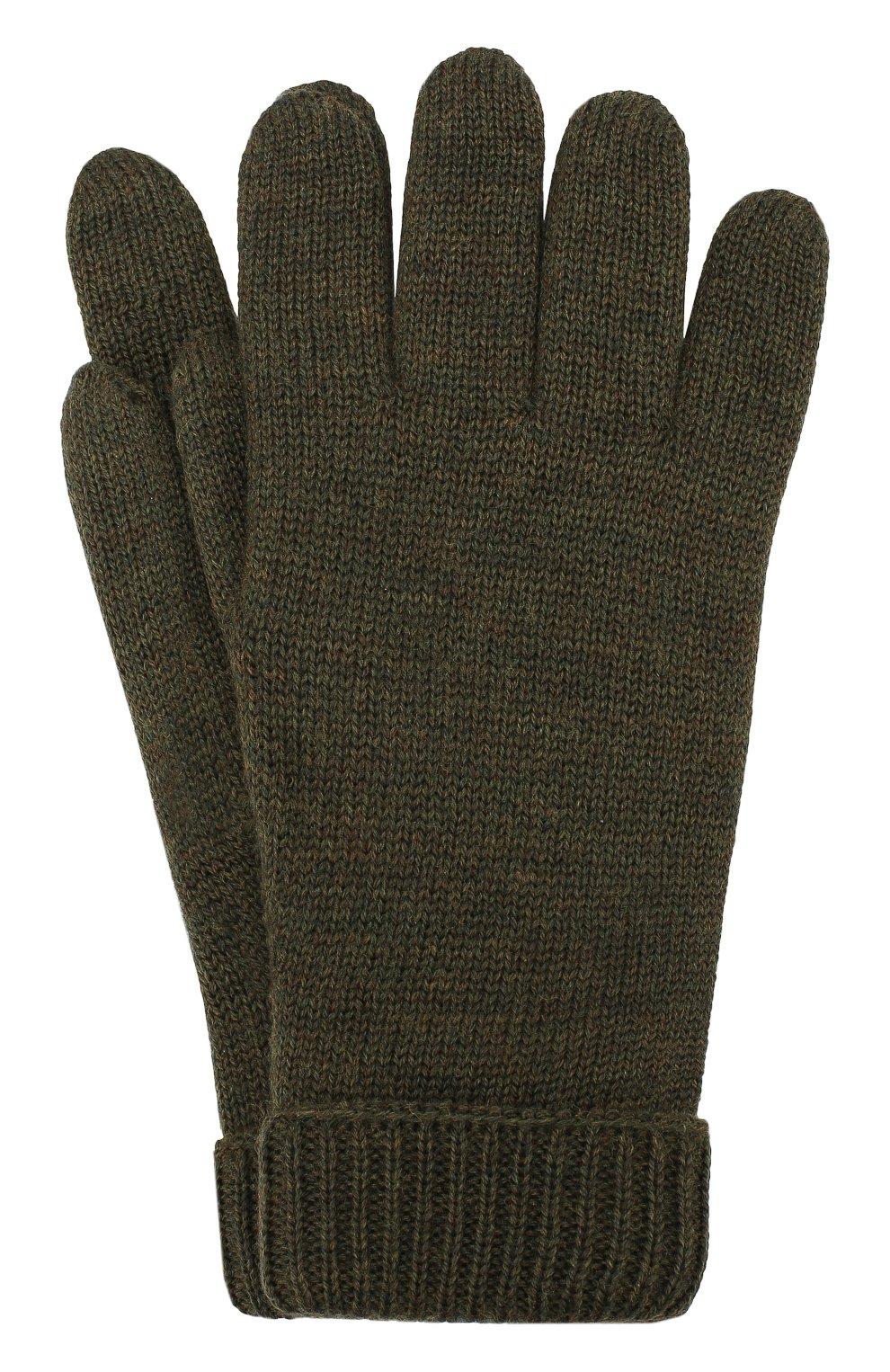 Детские шерстяные перчатки IL TRENINO хаки цвета, арт. 19 9008/E0 | Фото 1