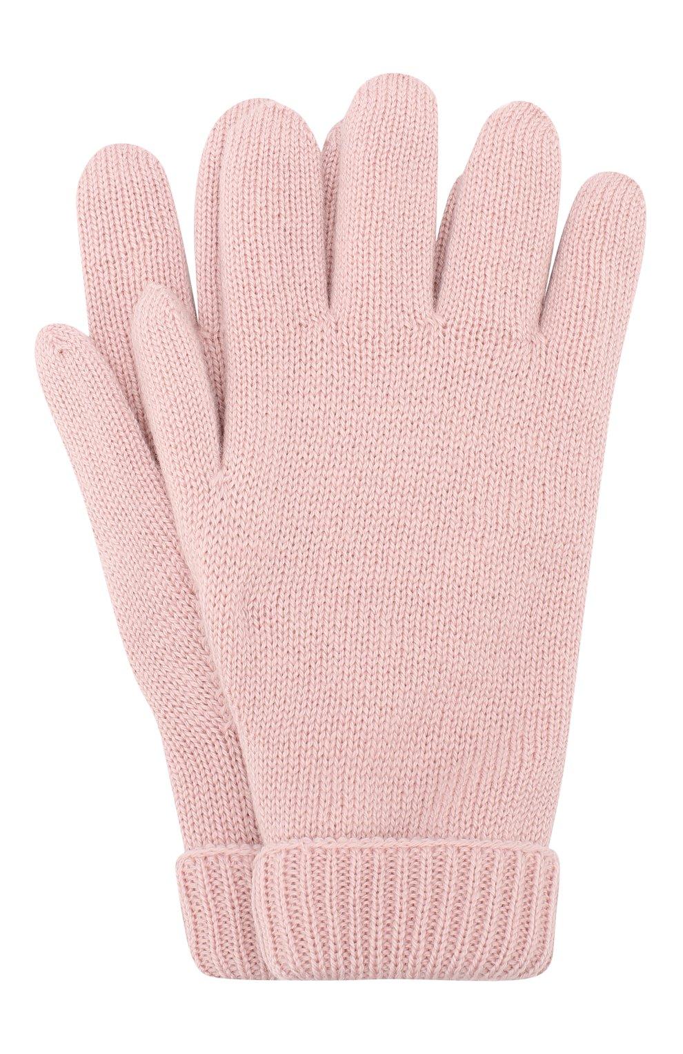 Детские шерстяные перчатки IL TRENINO розового цвета, арт. 19 9008/E0   Фото 1